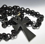 Antique Vulcanite Necklace Victorian Mourning Jewelry - Boylerpf - 3