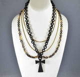 Antique Vulcanite Necklace Victorian Mourning Jewelry - Boylerpf - 1