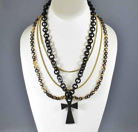 Antique Vulcanite Necklace Victorian Mourning Jewelry