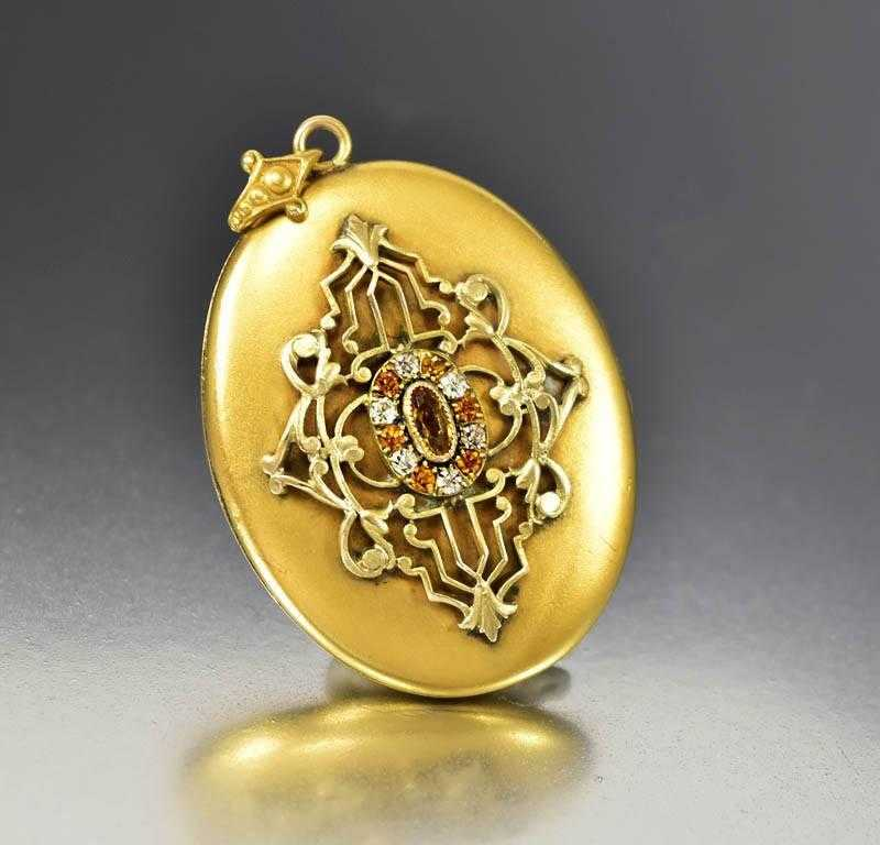 Edwardian Art Nouveau Diamond Paste Gold Locket - Boylerpf - 1