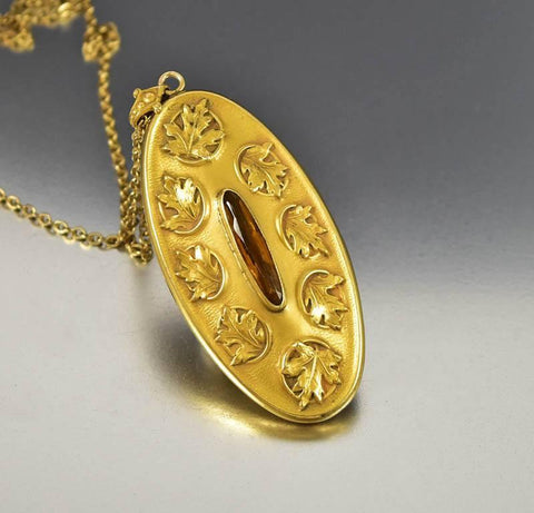 Antique Art Nouveau Maple Leaf Gold Locket Necklace ON HOLD