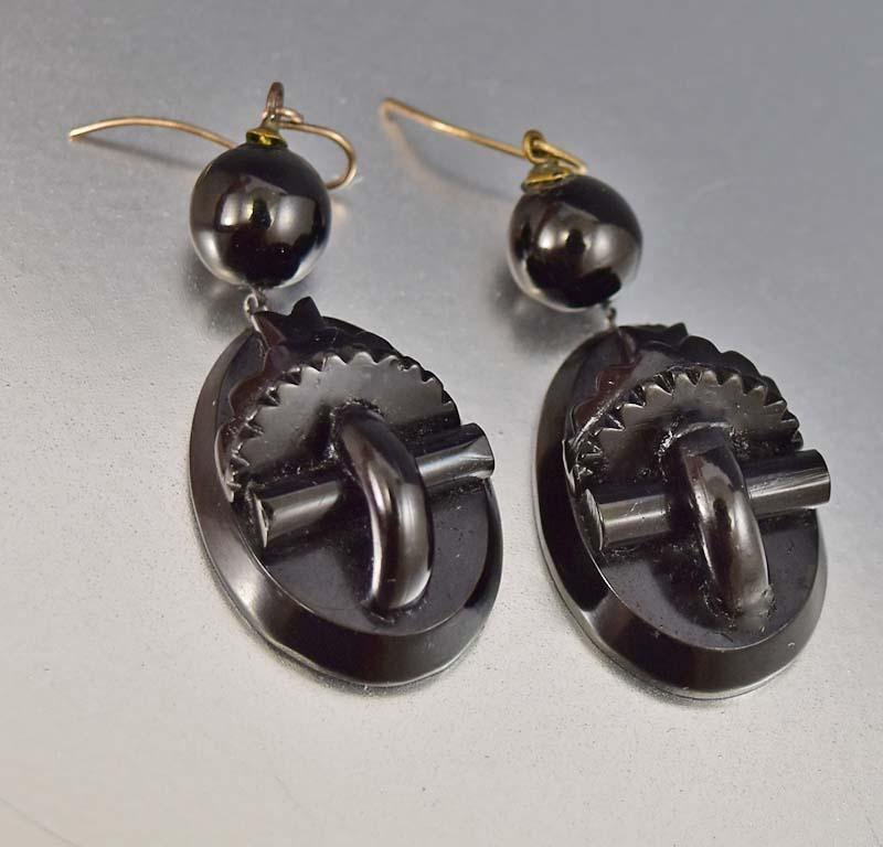 Authentic Carved Whitby Jet Antique Victorian Earrings - Boylerpf