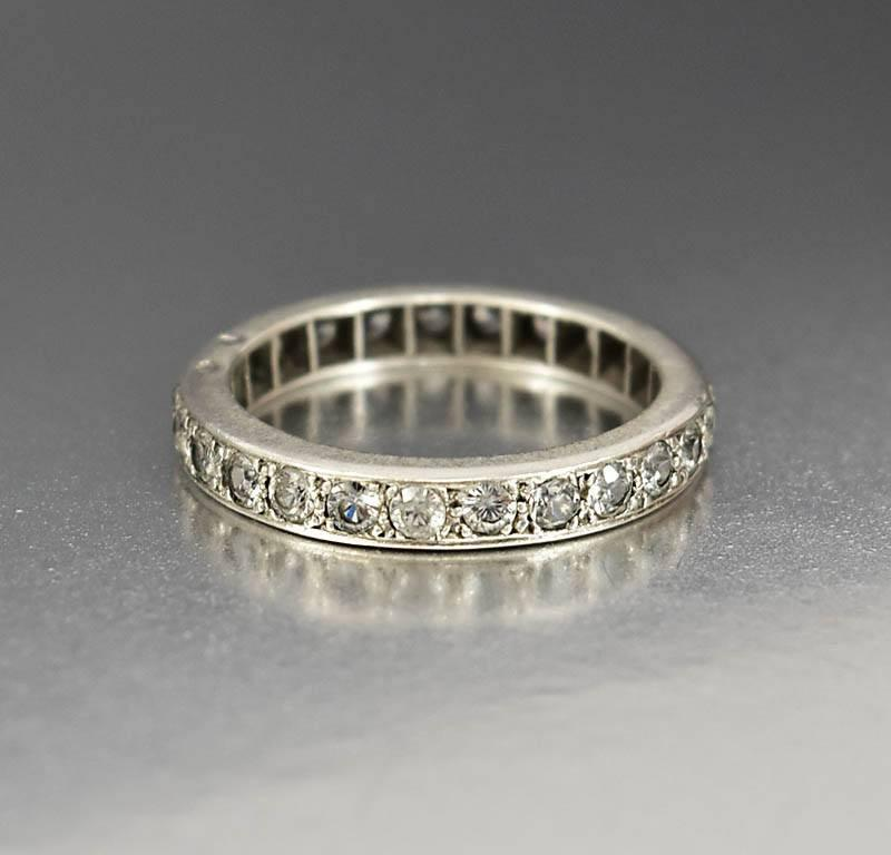 product home art band wedding single deco antique diamonds eternity in cut platinum bands