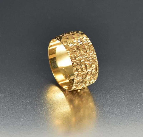 Vintage Diamond Cut Gold Eternity Band Wedding Ring