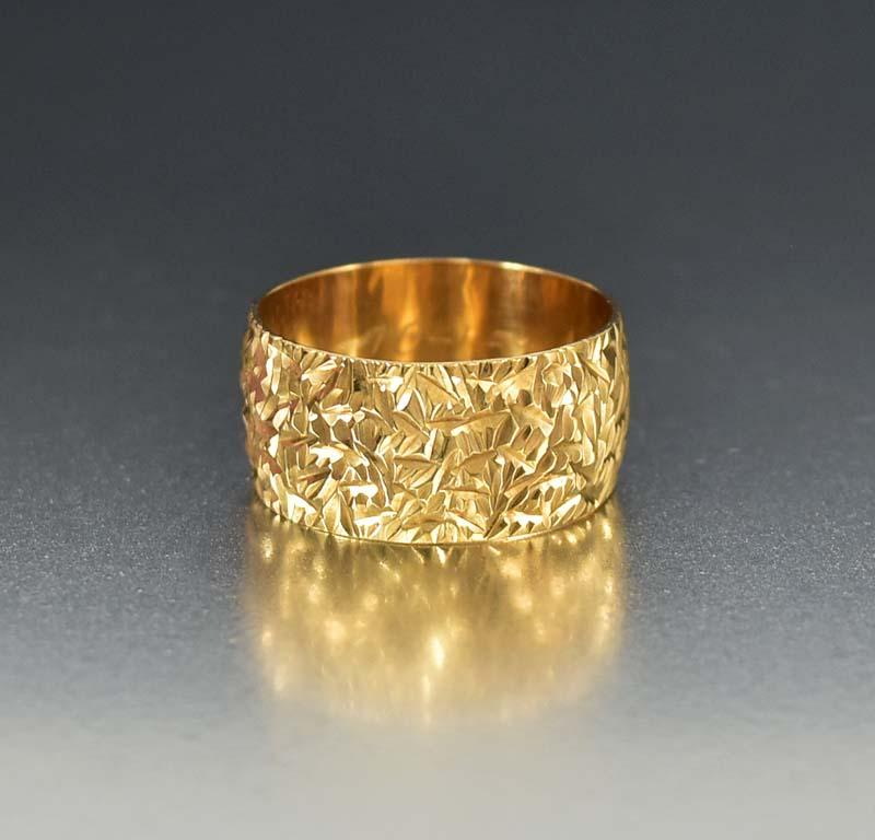 pin bands band wide yellow unique gold ring wedding textured