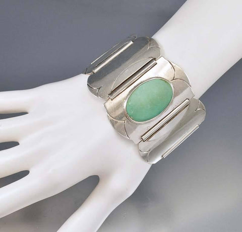 Antique Arts and Crafts Wide Silver Turquoise Bracelet