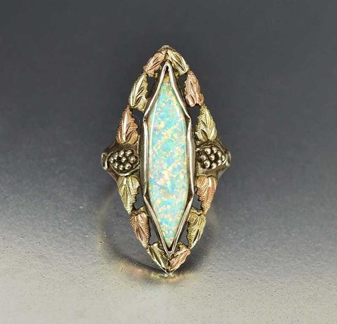Opal Navette Ring With 10K Rose Gold Leaves