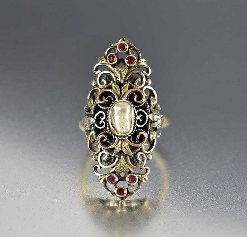 Antique French Gold Garnet Baroque Pearl Navette Ring - Boylerpf