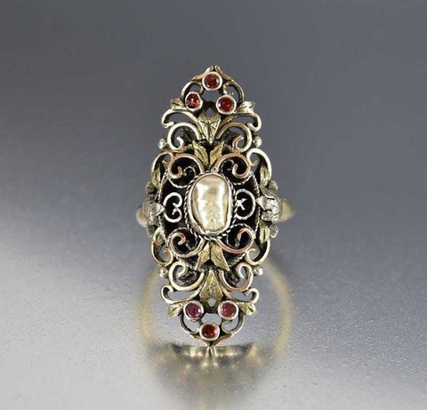 Antique French Gold Garnet Baroque Pearl Navette Ring