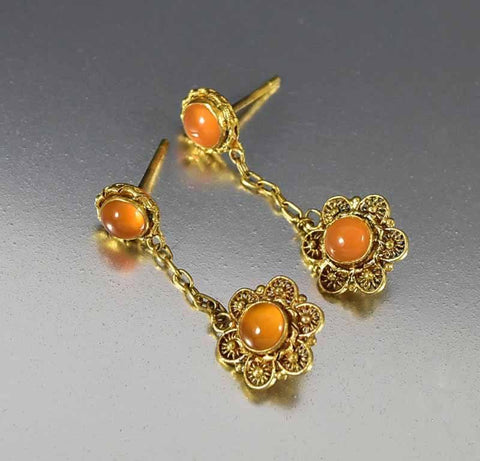 Vintage Chinese Silver Gold Carnelian Dangle Earrings