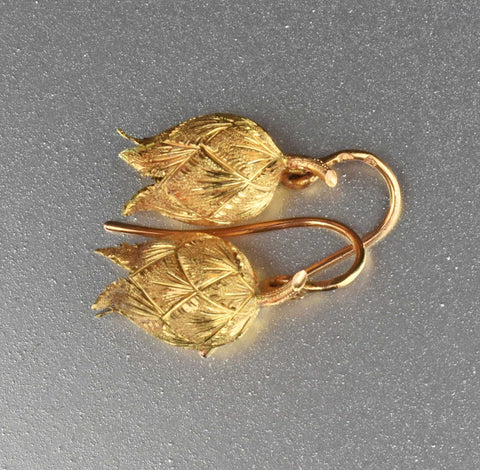 Antique French 14K Gold Lily of the Valley Earrings
