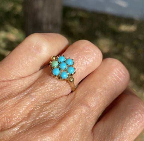 Vintage Gold Victorian Style Turquoise Cluster Ring