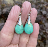 Silver Natural Turquoise Pendant Drop Earrings - Boylerpf