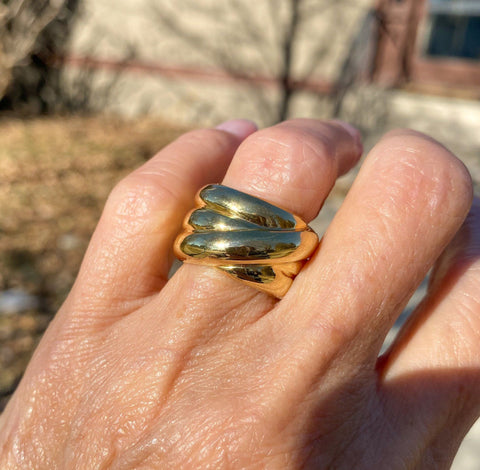 Wide 14K Gold Italian Ribbed Gold Band Ring