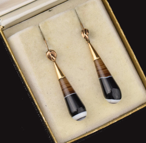 Antique Victorian Scottish Banded Agate Earrings