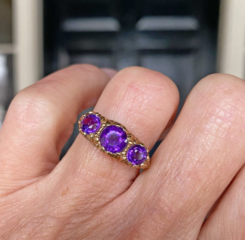 Amethyst Three Row Gold Half Hoop Eternity Ring