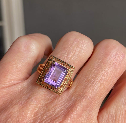 Amethyst Gold Greek Key Pattern Retro Ring