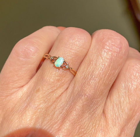 Vintage Diamond Opal Gold Heart Ring