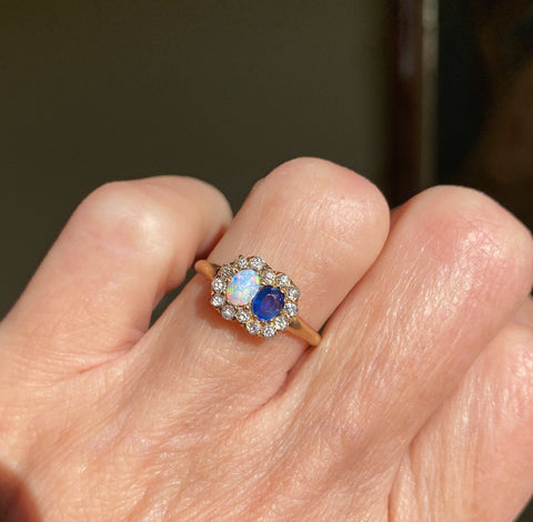 Antique 14K Gold Opal Sapphire Diamond Halo Ring
