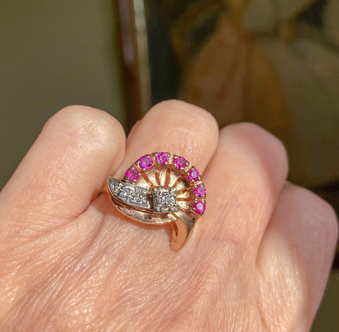 Retro Ruby Crown Diamond Comet Ring, Hollywood Regency