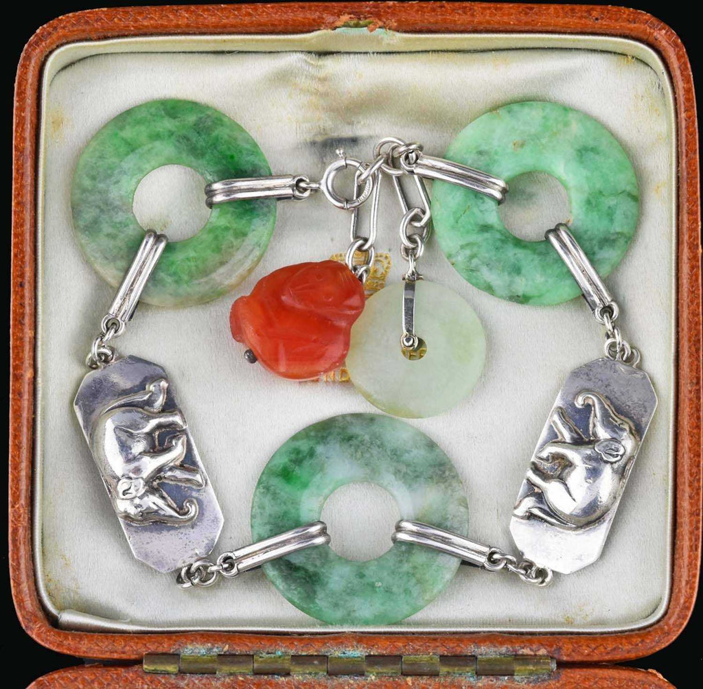 Art Deco Green & Red Jade Bracelet 1920s - Boylerpf