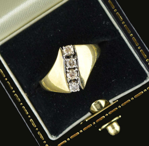 Retro 14K Yellow Gold Diamond Engagement Ring