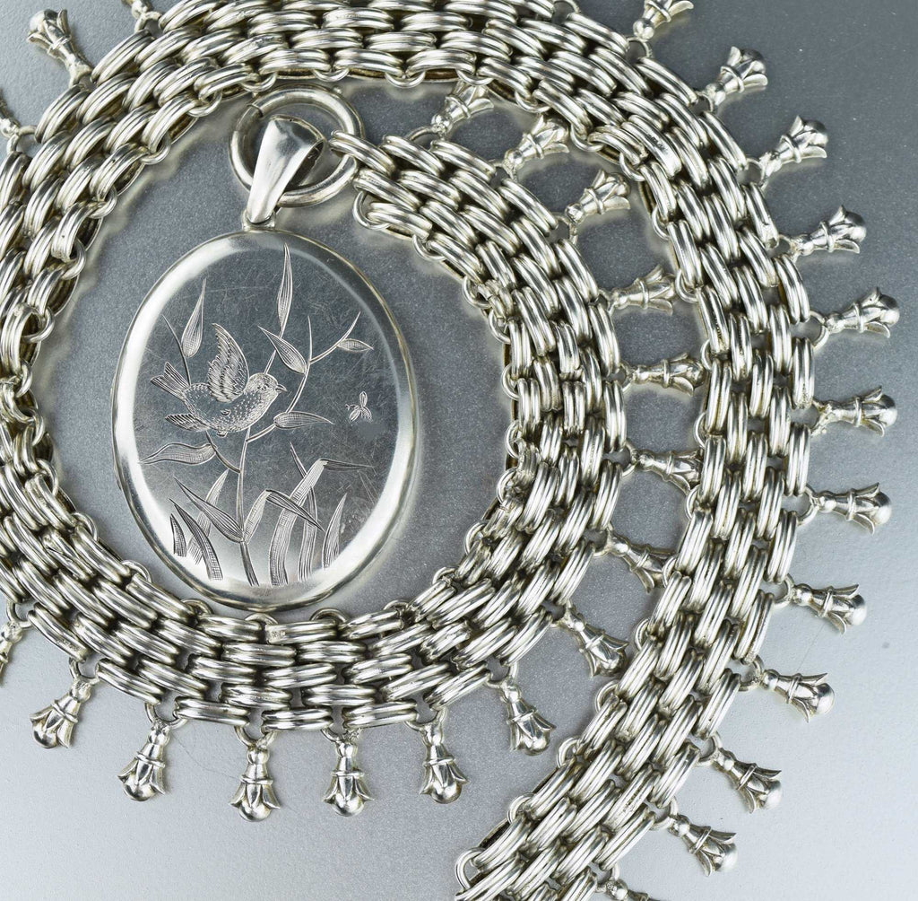 Victorian Silver Basketweave Book Chain & Bird Locket - Boylerpf