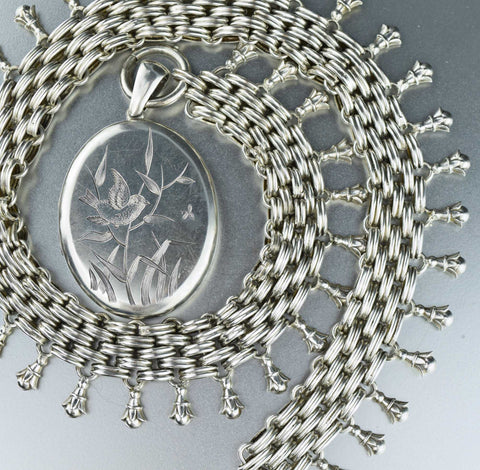Victorian Silver Basketweave Book Chain & Bird Locket