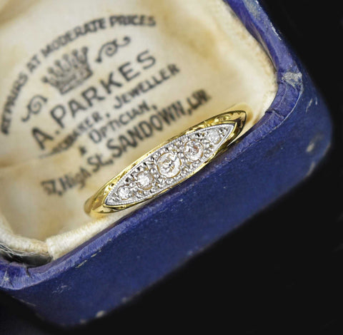 Vintage 18K Gold Diamond Platinum Wedding Band RIng