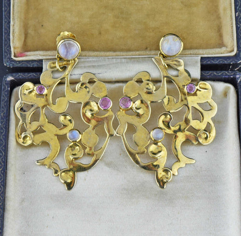 Antique French 18K Gold Pearl Earrings 19th Century