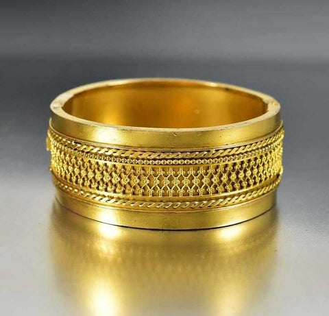 Victorian Etruscan Gold Wide Bangle Bracelet