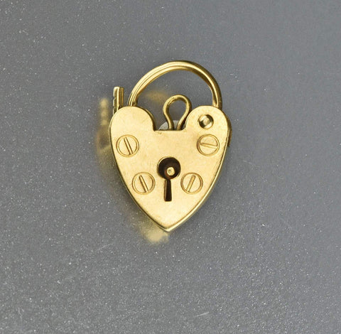 Solid Gold Heart Padlock Clasp Pendant