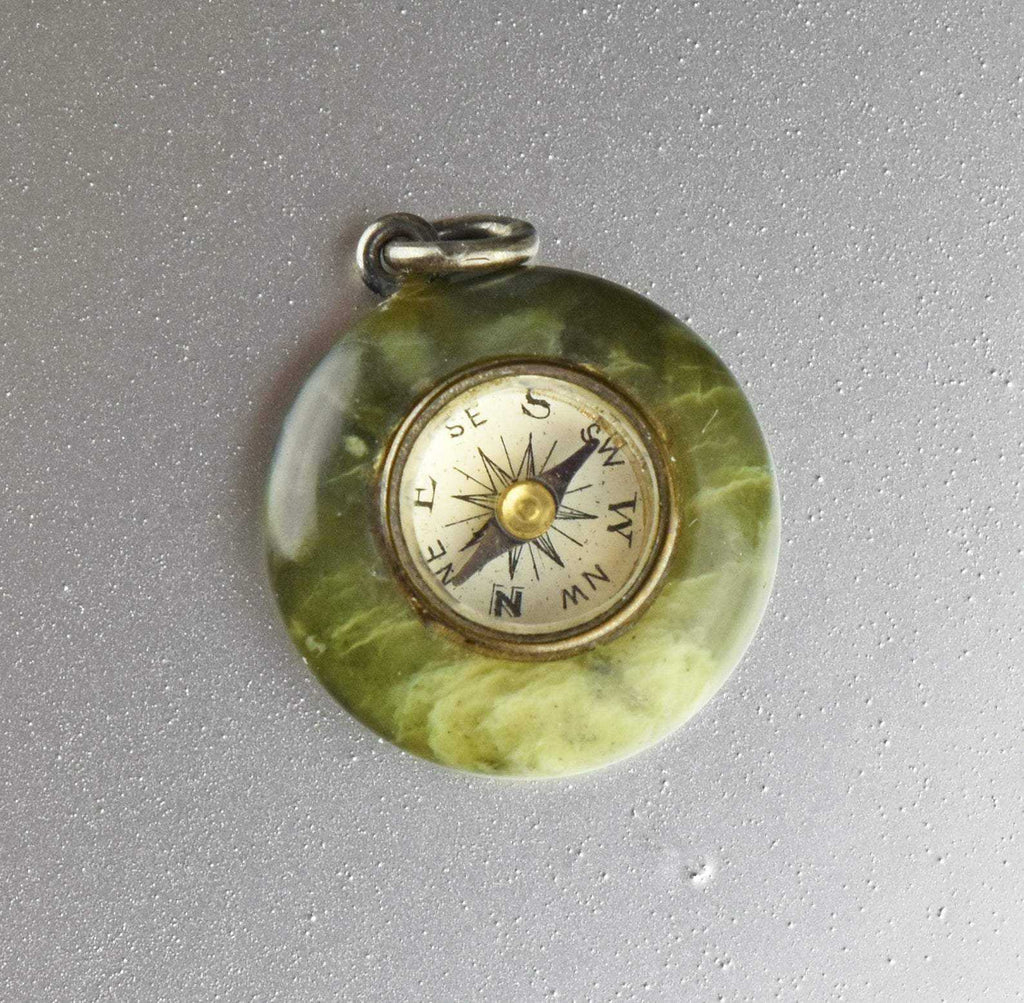 Antique Watch Fob Compass Pendant,Green Agate Pendant - Boylerpf