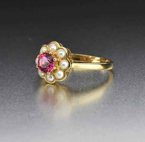 Vintage Pearl Halo Pink Topaz Ring, Luke Stockley