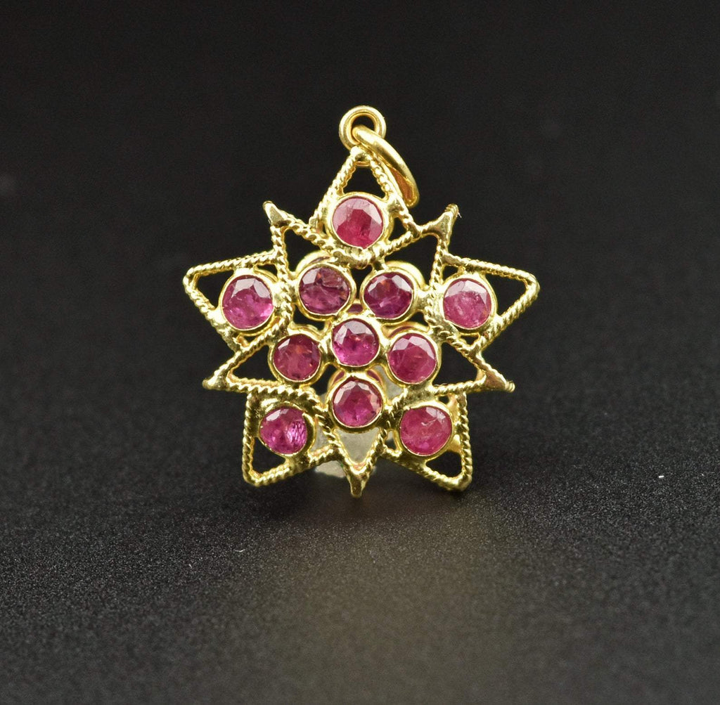 Vintage 18K Gold Ruby Star Pendant Necklace - Boylerpf