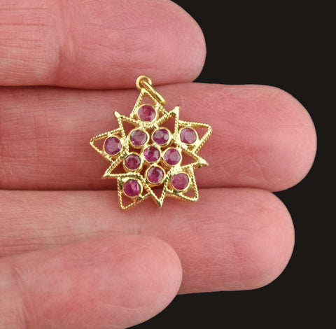 Vintage 18K Gold Ruby Star Pendant Necklace