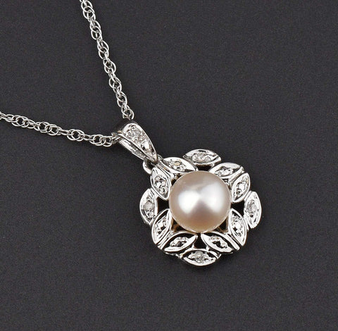 10K White Gold Vintage Diamond Pearl Necklace