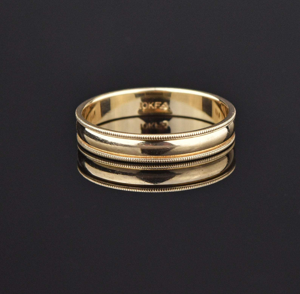 10K Gold Vintage Mens Beaded Wedding Band Ring - Boylerpf