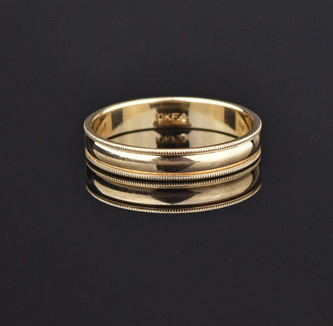 10K Gold Vintage Mens Beaded Wedding Band Ring