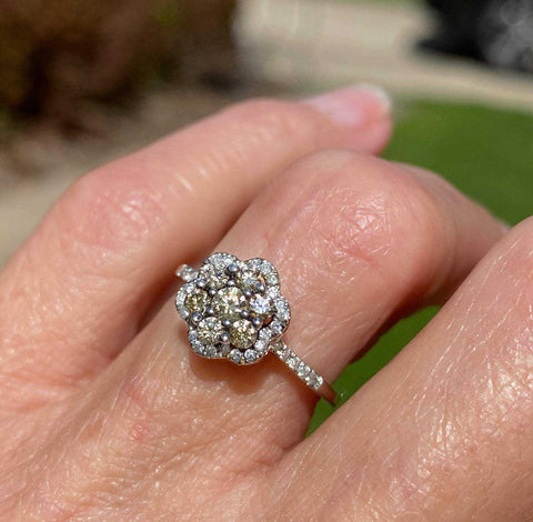 Vintage Champagne Diamond Engagement Ring