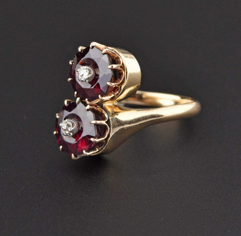 Vintage Diamond Garnet Bypass Engagement Ring