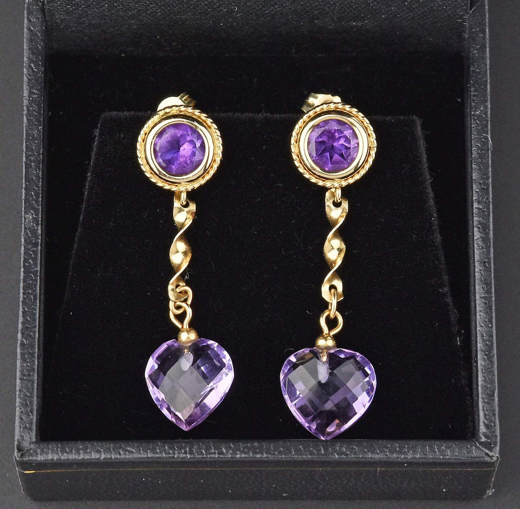 14K Gold Vintage Amethyst Dangle Heart Earrings - Boylerpf