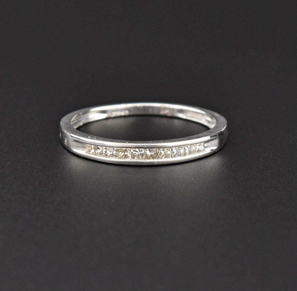 Vintage Platinum Diamond Band Half Eternity Ring - Boylerpf