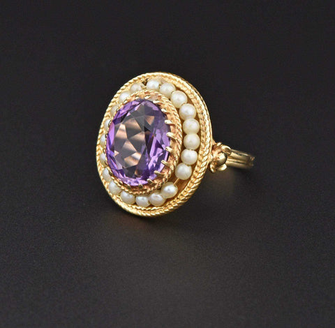 Victorian 14K Gold Pearl Halo Amethyst Ring