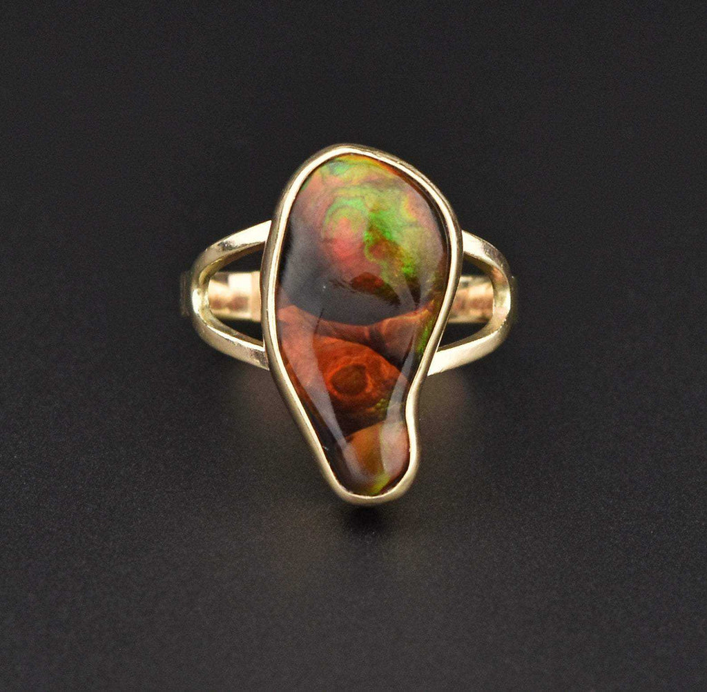 Contemporary 14K Gold Freeform Fire Agate Ring - Boylerpf