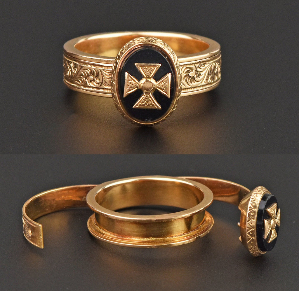 18K Gold Secret Compartment Ring, Onyx Cross Pattée - Boylerpf