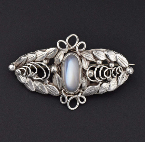 Art Nouveau Silver Moonstone Brooch