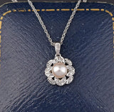 10K White Gold Vintage Diamond Pearl Necklace - Boylerpf