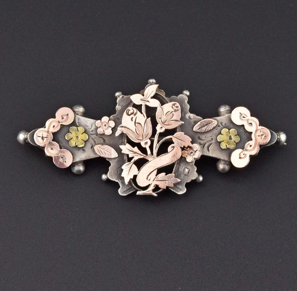 Edwardian Rose Gold Silver Sweetheart Brooch - Boylerpf