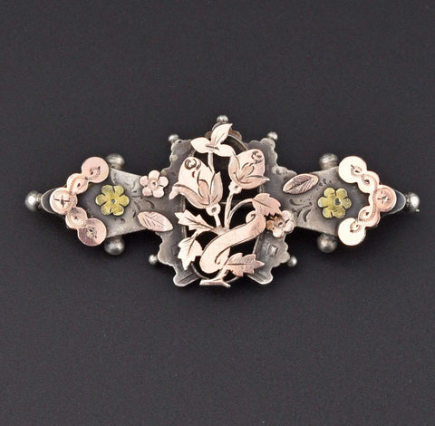 Edwardian Rose Gold Silver Sweetheart Brooch